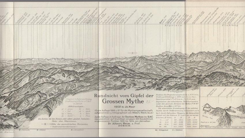 Rundsicht vom Gipfel der Grossen Mythe: 1902 m. üb. Meer.