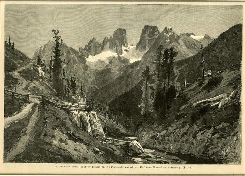 Aus den tiroler Alpen: der Monte Cristallo, von den Plätzenwiesen aus gefehn. Nach einem Acqurell von U. Lutteroth.