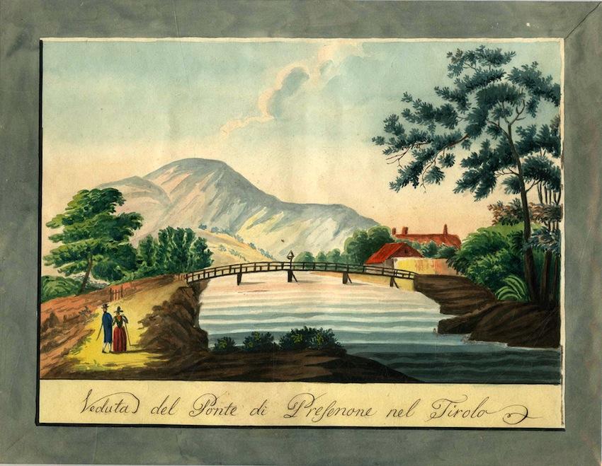 Veduta del ponte di Presenone [Bressanone?] nel Tirolo.