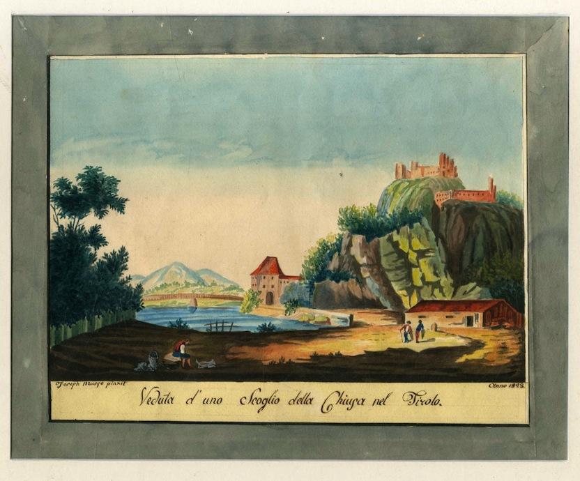 Veduta d'uno scoglio della Chiusa nel Tirolo.