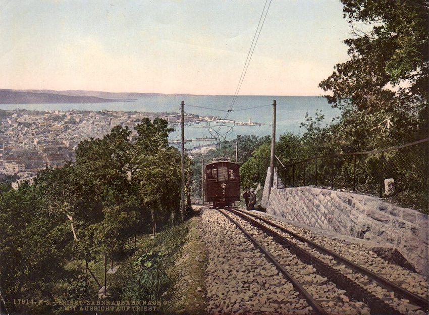 17914. P.Z. Triest. Zahnradbahn nach Opicina mit Aussicht auf Triest.
