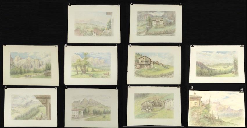 Lotto di 10 vedute delle Dolomiti e dell'Alto Adige: 8 vedute della Val Badia e 2 di Carezza.