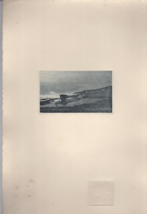 Bombardiere Caproni in atterraggio (riquadro centrale di: Trittico aereo).