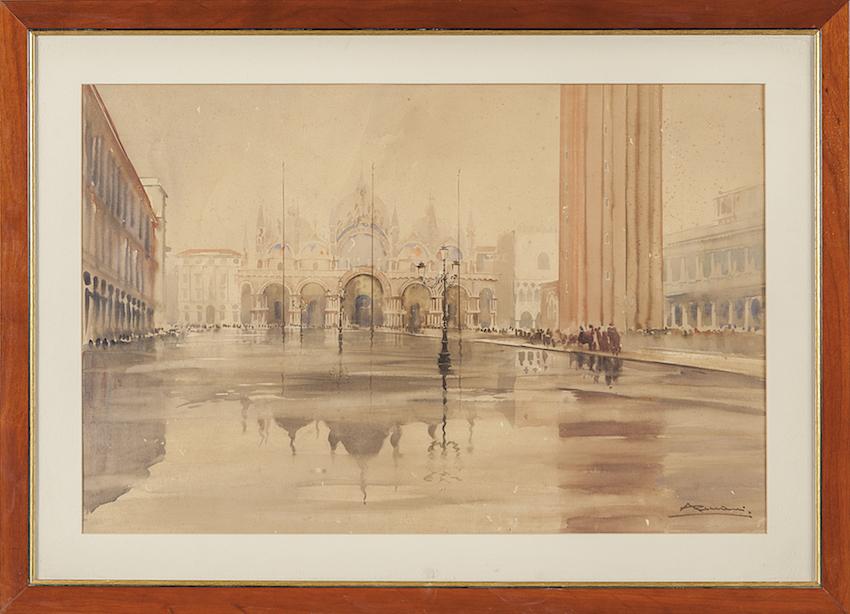 Venezia. Pioggia a piazza San Marco.