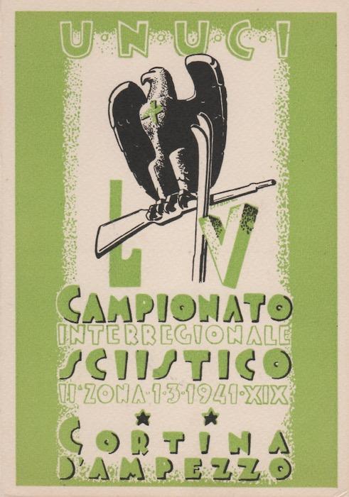 Cartolina pubblicitaria del Campionato Interregionale Sciistico di Cortina D'Ampezzo.