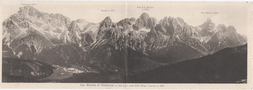San Martino di Castrozza m. 1444 s. m. vista dalla Malga Tognolla.