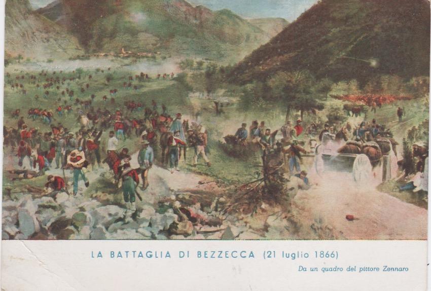 Cartolina rappresentante La Battaglia di Bezzecca (21 luglio 1866).