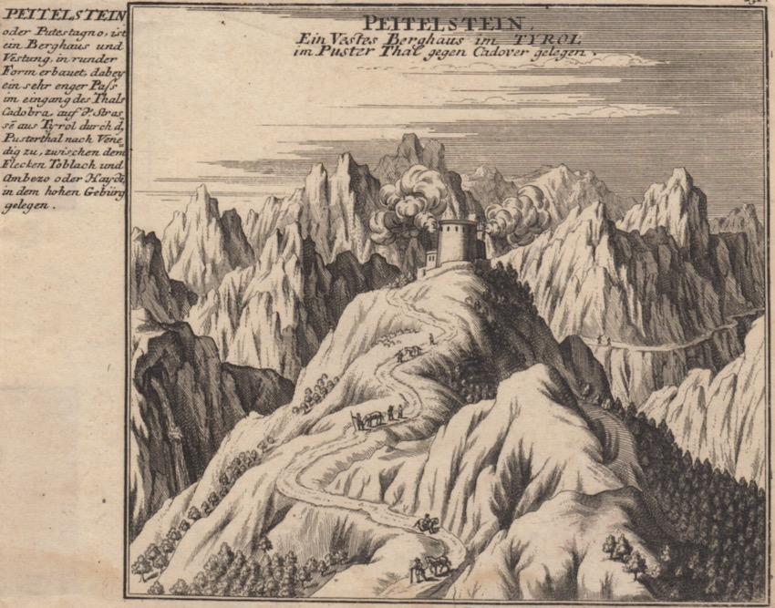 Peitelstein [Castello di Botestagno o Podestagno - Peutelstein]: Ein Vestes Berghaus im Tyrol im Puster Thal gegen Cadover gelegen.