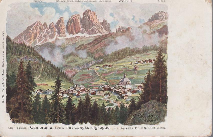 Tirol, Fassatal: Campitello, 1453 m mit Langkofelgruppe.