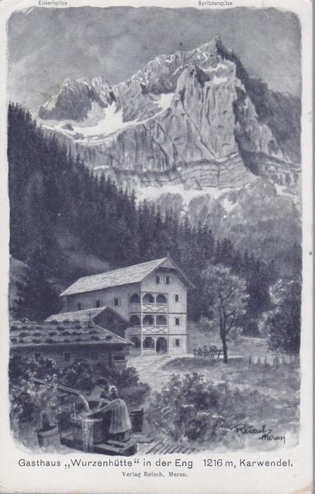 """Gasthaus """"Wurzenhütte"""" in der Eng 1216 m, Karwendel."""
