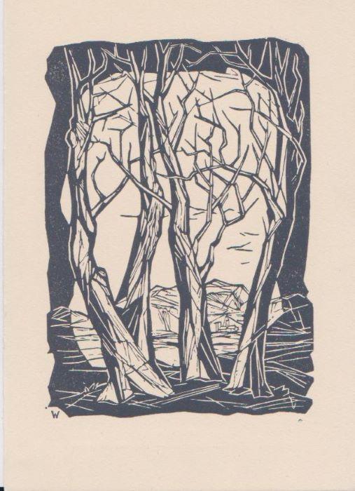 Remo Wolf - Inverno - Xilografia 1954.