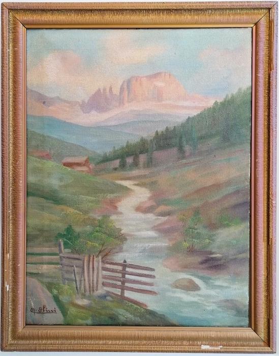 Il Catinaccio con torrente montano.