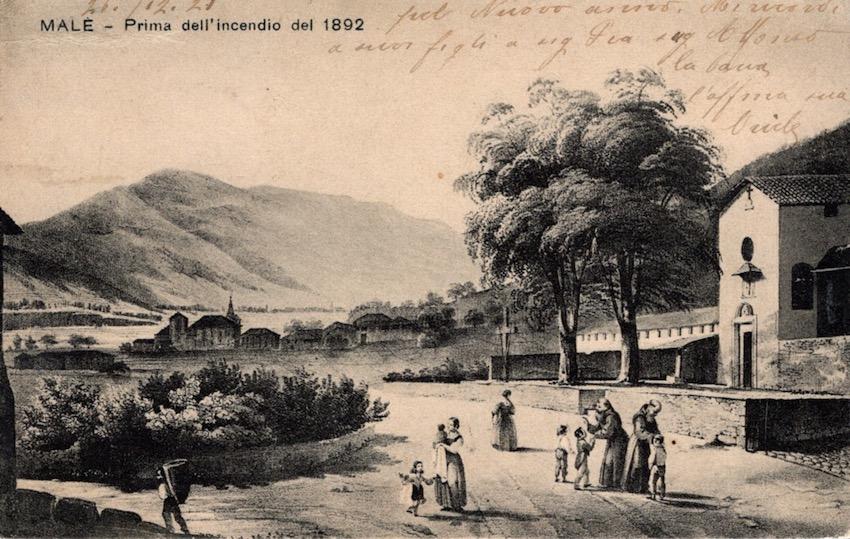 Malè - Prima dell'incendio del 1892.
