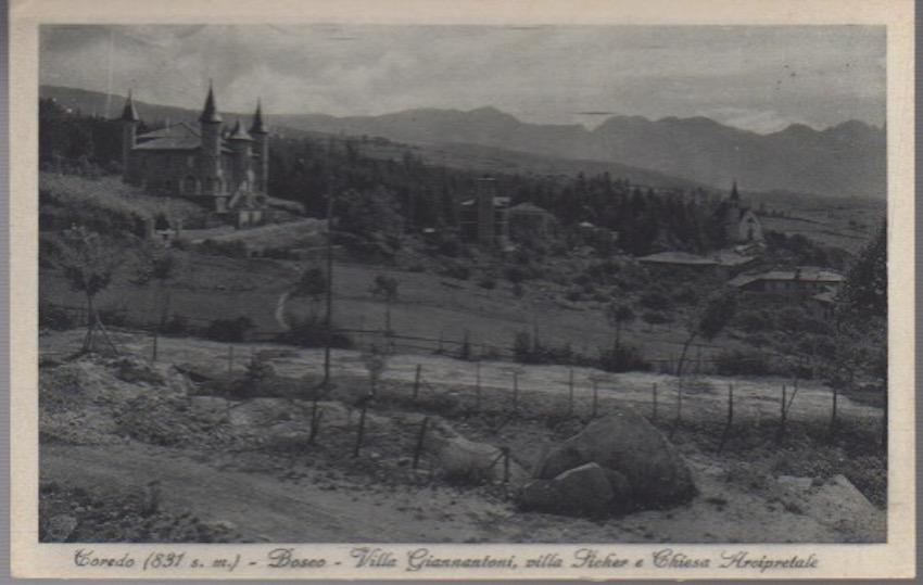 Coredo (831 s. m.) - Bosco - Villa Giannantoni, villa Sicher e Chiesa Arcipretale.