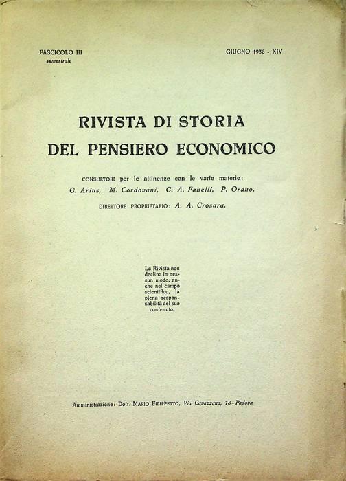 Rivista di storia del pensiero economico: Fasc. III (giugno 1936 - XIV).