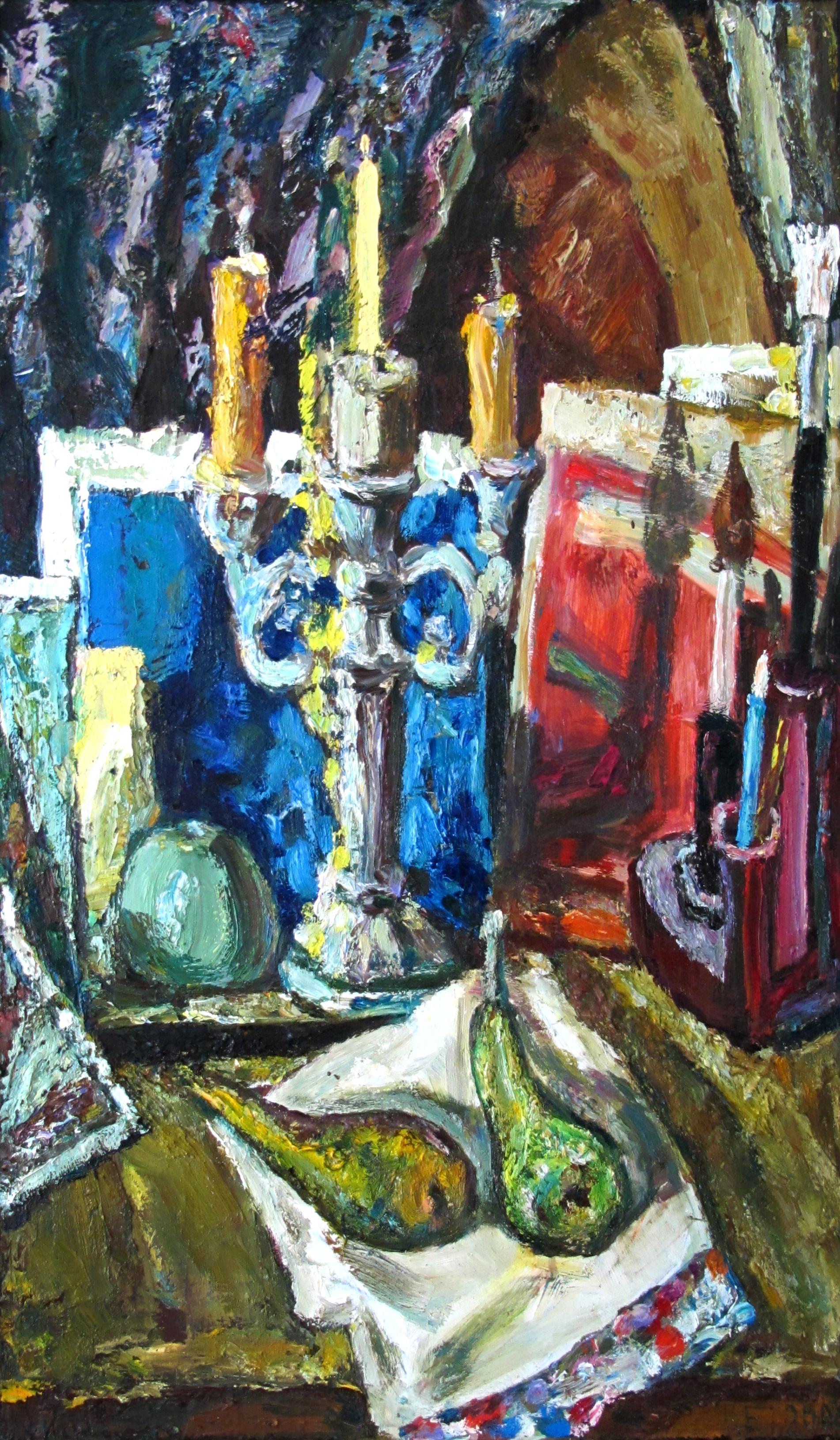 Still life with candlestick holder