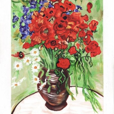 """Reproduction on Van Gogh's painting """"Poppies in a Vase"""""""