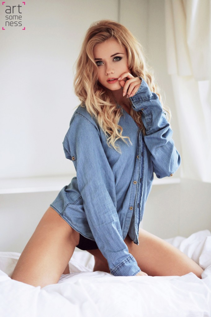 blonde model in underwear and jeans shirt