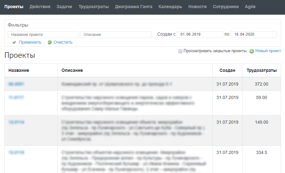 Redmine, revision of the Projects section, output of additional fields, filter, search, sorting