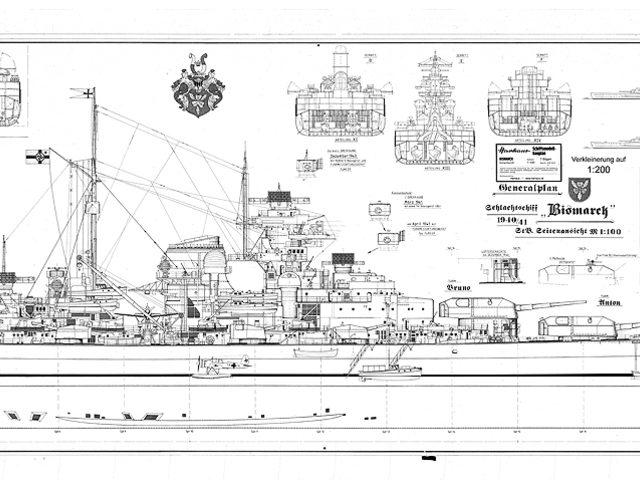 bismarck bauplan in 1 200 von harhaus schiffsmodell. Black Bedroom Furniture Sets. Home Design Ideas
