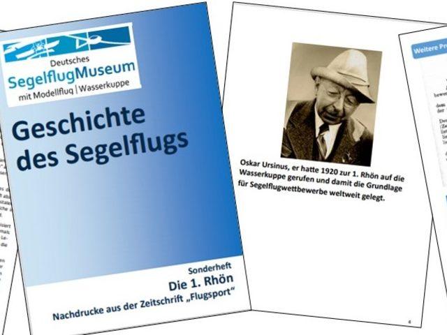 Broschüre zur 1. Rhön vom Segelflugmuseum