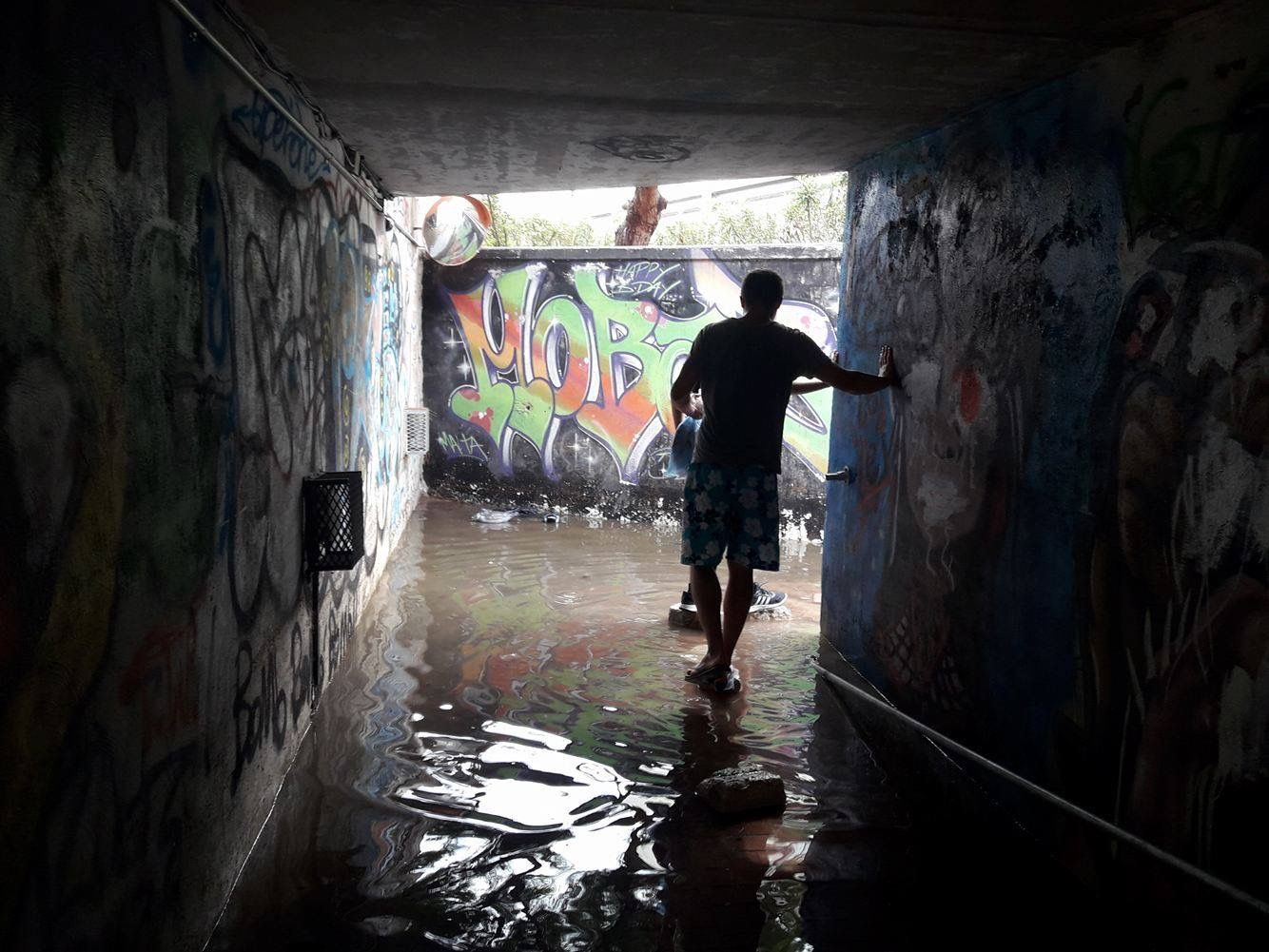 Subway connecting Swatar to University of Malta via skatepark after heavy rainfall
