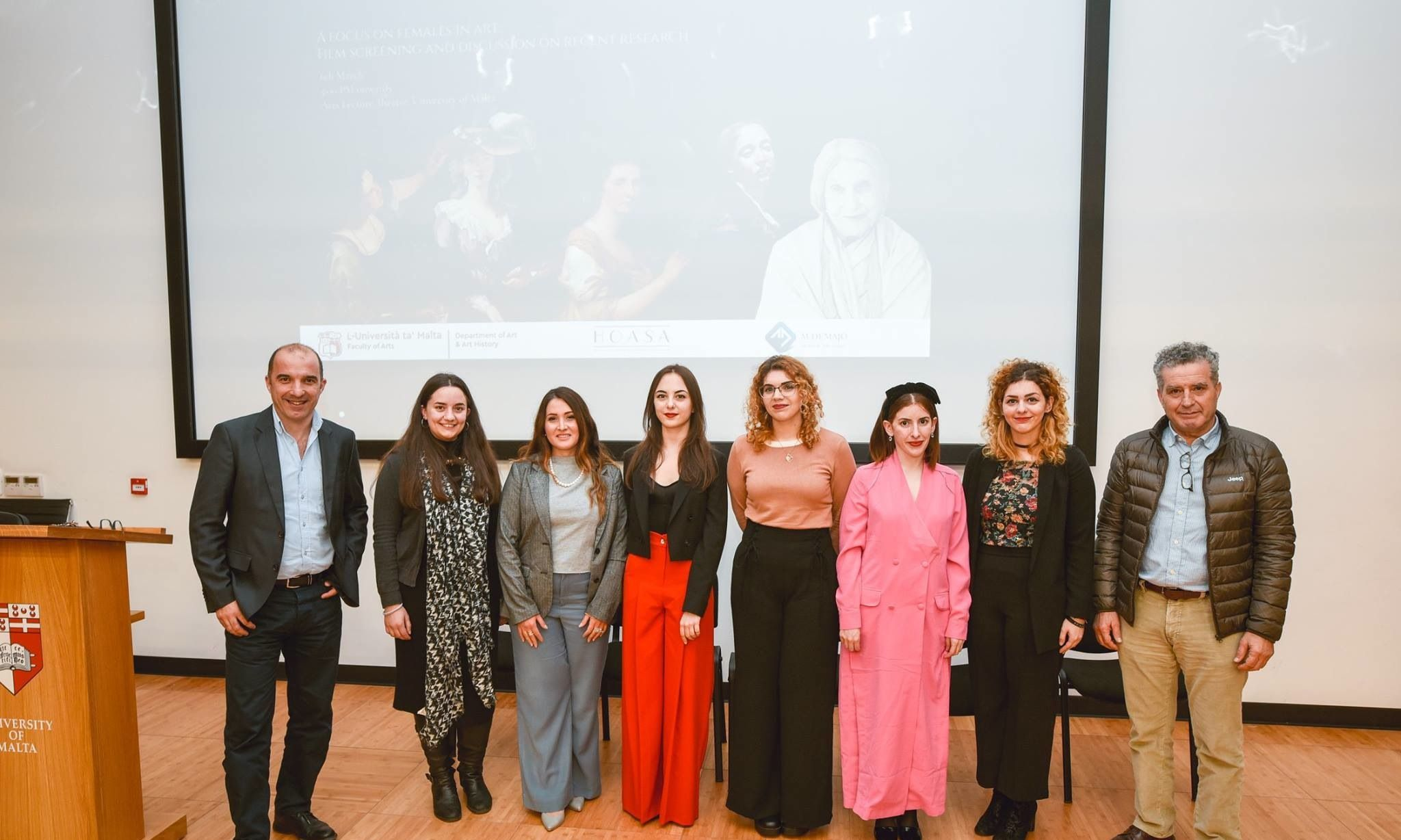 Left to right: Prof. Keith Sciberras, Ms Abigail Pace, Dr Charlene Vella, Ms Naomi Bajada Young, Ms Katrina Xuereb, Ms Maria Theuma, Ms Nadette Xuereb, Prof. Dominic Fenech