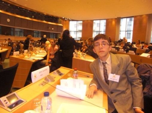 Jens Camilleri as a delegate in the Youth Parliament session in Brussels on Inclusion in Education