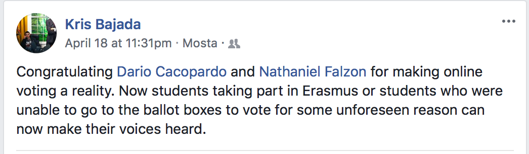 Independent candidate Kris Bajada's Facebook post following the approval of the online voting system