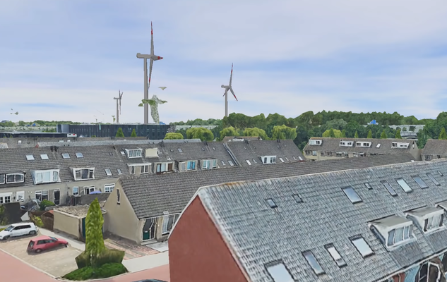 Visualisatie windmolens boven Oostzaan