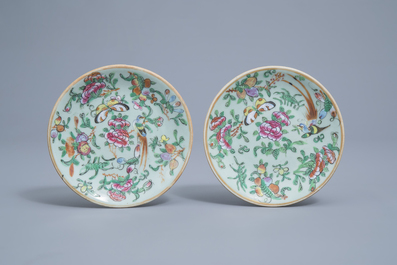 A varied collection of Chinese Canton and famille rose porcelain, 19th C.