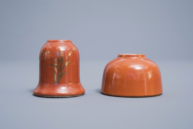 A Chinese four-part gilt decorated coral ground scholar's set, Republic, 20th C.