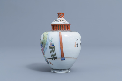 A Chinese famille rose vase and cover with ladies playing music, Qianlong mark, Republic, 20th C.