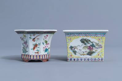 Two Chinese famille rose jardinières and a bowl with floral design, 20th C.