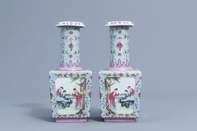 A pair of square Chinese famille rose bottle shaped vases with ladies enjoying life, Qianlong mark, 20th C.