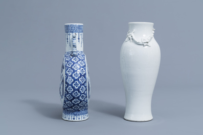 A Chinese blue and white moonflask and a blanc de Chine vase with dragon relief design, 19th C.