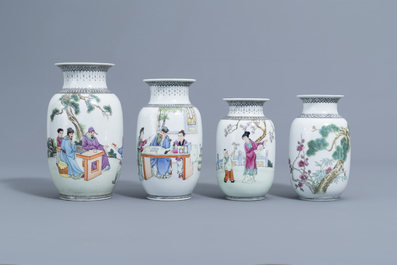 A Chinese iron red vase and jar and cover with Buddhist lions and five famille rose vases, 19th/20th C.
