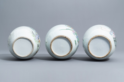 Five various Chinese famille rose and qianjiang cai ginger jars, 19th/20th C.
