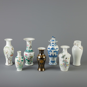 A collection of seven Chinese vases with different designs, 19th C.