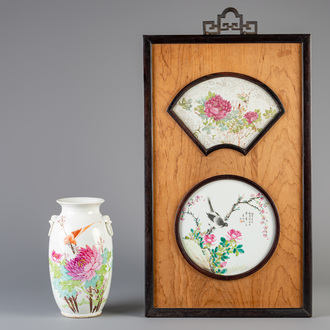 A Chinese qianjiang cai panel and a vase, 19th/20th C.