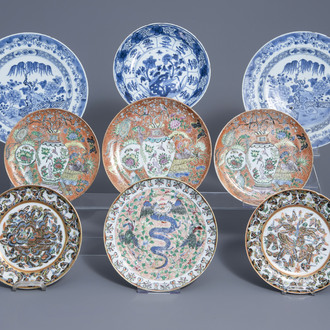 Nine Chinese blue, white and famille rose plates, Kangxi, Qianlong and 19th C.