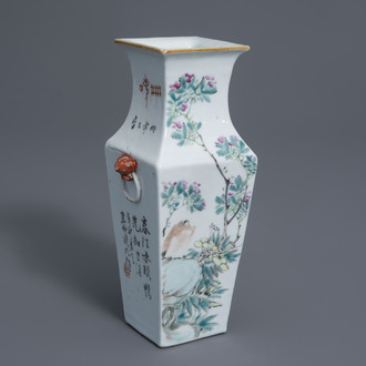 A square Chinese qianjiang cai vase with birds and blossoms, 19th/20th C.