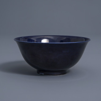 A Chinese monochrome blue bowl with figures, Yongzheng mark, 19th/20th C.