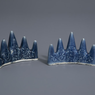 A pair of Chinese monochrome blue brush rests with underglaze design, 19th/20th C.