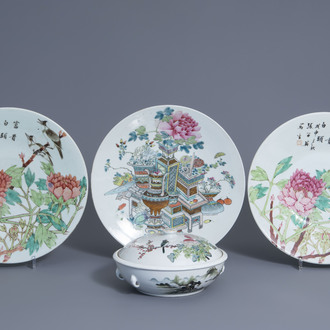 Three Chinese qianjiang cai dishes and a covered bowl, 19th/20th C.