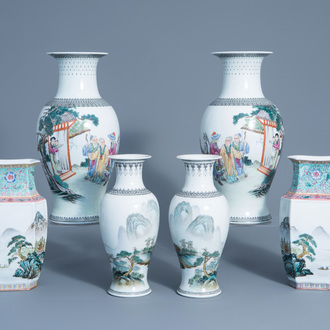 Three pairs of Chinese famille rose vases, 20th C.