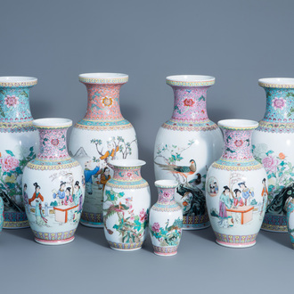 A varied collection of ten Chinese famille rose vases, 20th C.