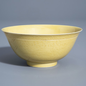 A Chinese yellow ground bowl with incised underglaze design, Yongzheng mark, 19th/20th C.