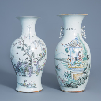Two Chinese famille rose vases with figures in a garden, 19th/20thC.