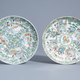Two Chinese Canton famille verte plates, 19th C.